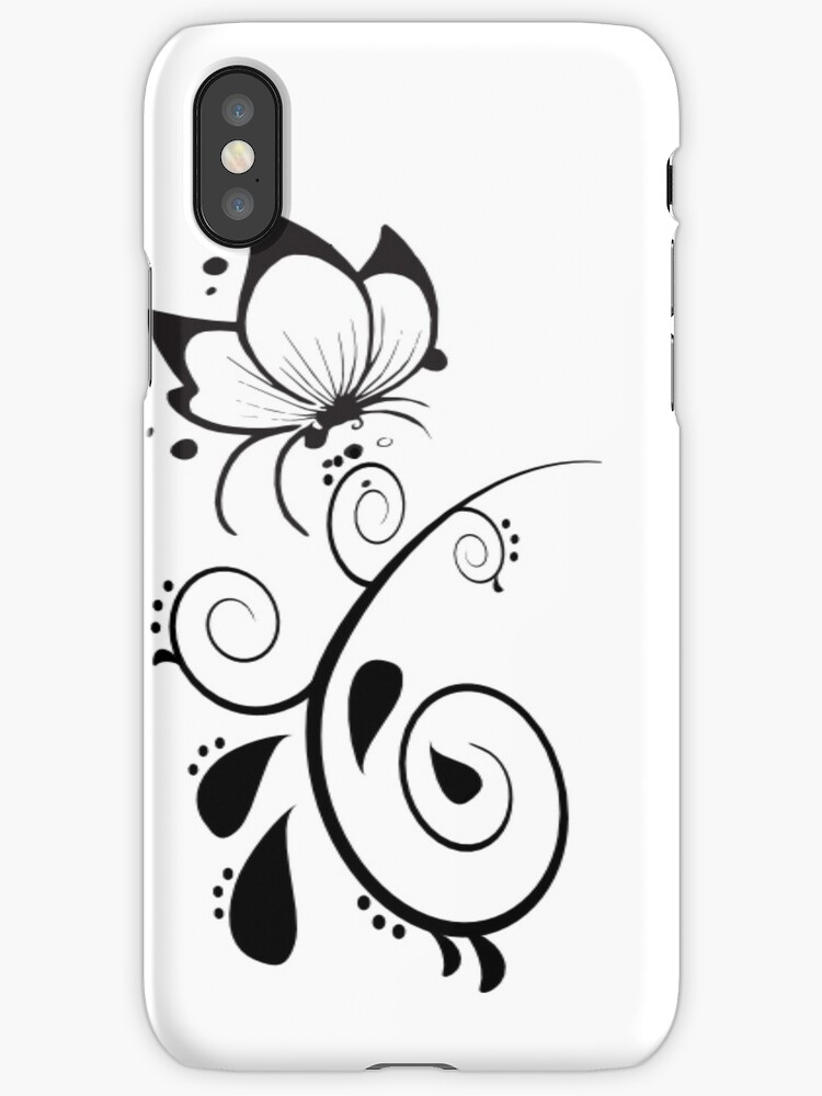 Black and White Elegant Floral Design by onestopgiftshop