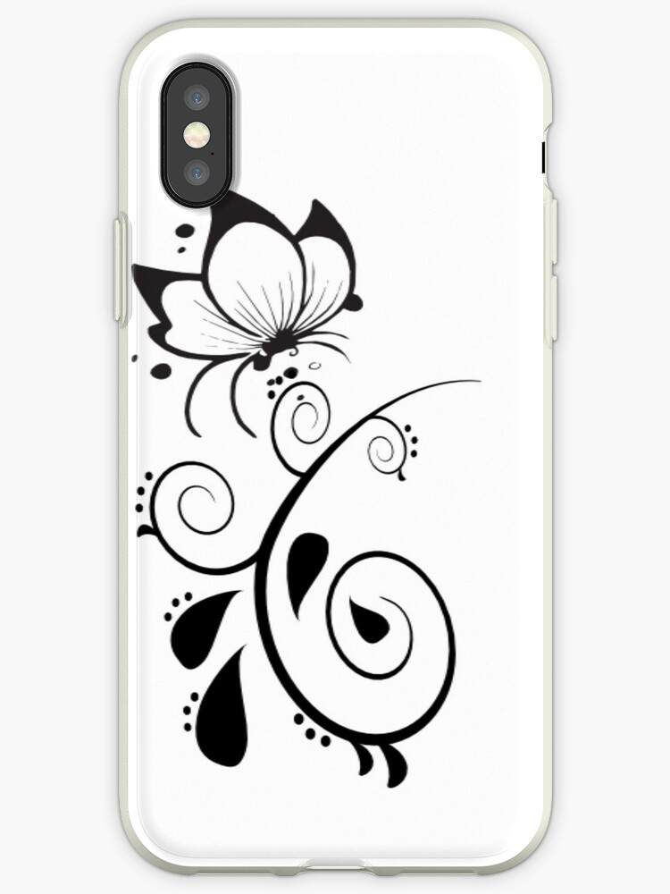 Black and White Elegant Floral Design by onestopgiftshop