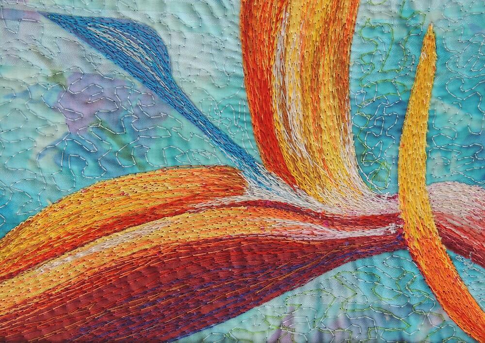 Textile art quilt, Bird of Paradise by Bekahdu