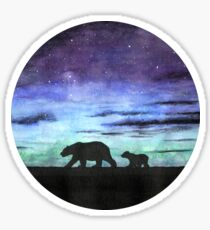 Aurora borealis and polar bears (dark version) Sticker