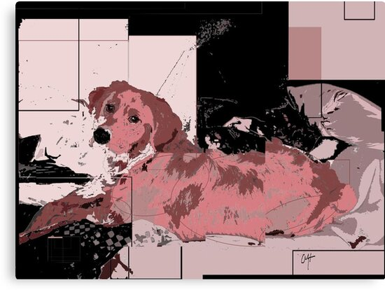 puppy in pink abstract by Christina Herbert