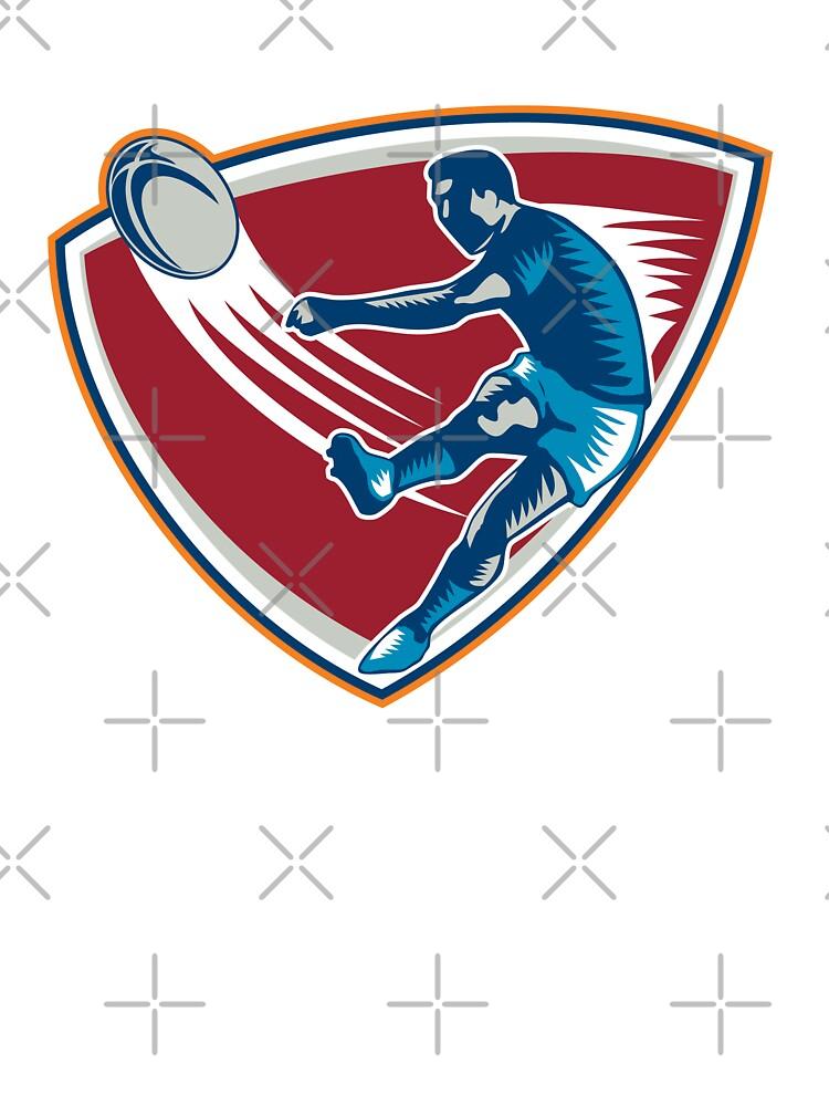 Rugby Player Kicking Ball Shield Woodcut by patrimonio
