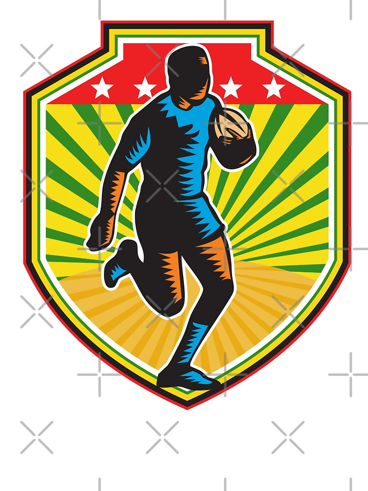 Rugby Player Running Ball Shield Retro by patrimonio