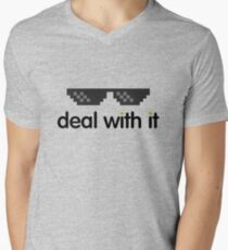 deal with it (black text) Men's V-Neck T-Shirt