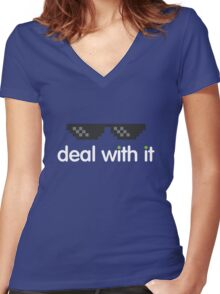 deal with it (white text) Women's Fitted V-Neck T-Shirt