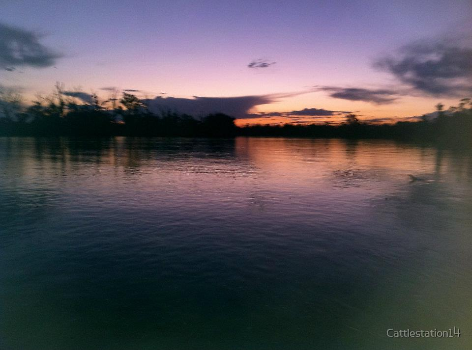 Murry River Moring view of evening sunset  by Cattlestation14