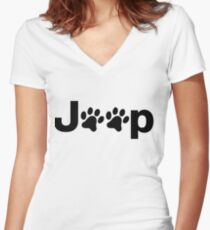Jeep Paws Women's Fitted V-Neck T-Shirt