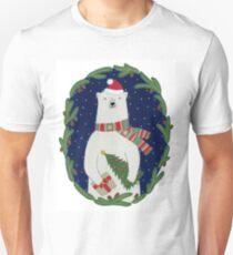 Polar bear with Christmas tree Unisex T-Shirt
