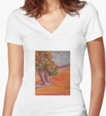 Autumn Tree Women's Fitted V-Neck T-Shirt