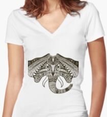 the head of an elephant Women's Fitted V-Neck T-Shirt