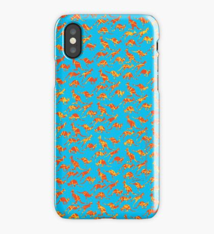 Orange Kangaroos on blue background iPhone Case