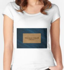 Famous humourous quotes series: What can go wrong will on a denims label  Women's Fitted Scoop T-Shirt