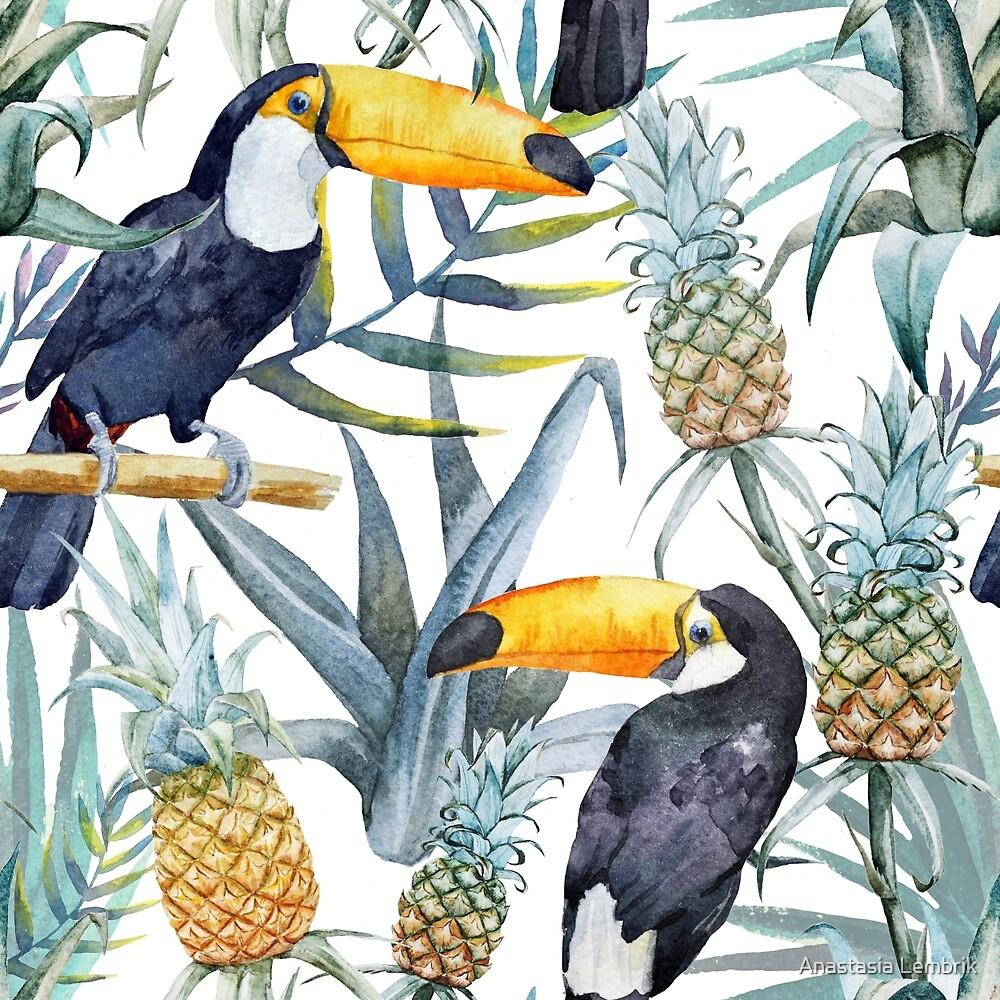 Tropical pattern toucan by Anastasia Lembrik