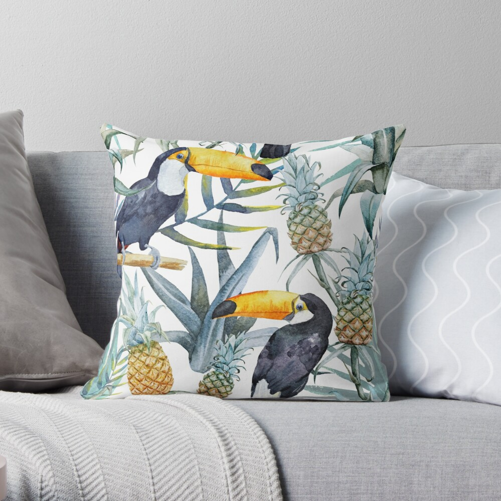 Tropical pattern toucan Throw Pillow