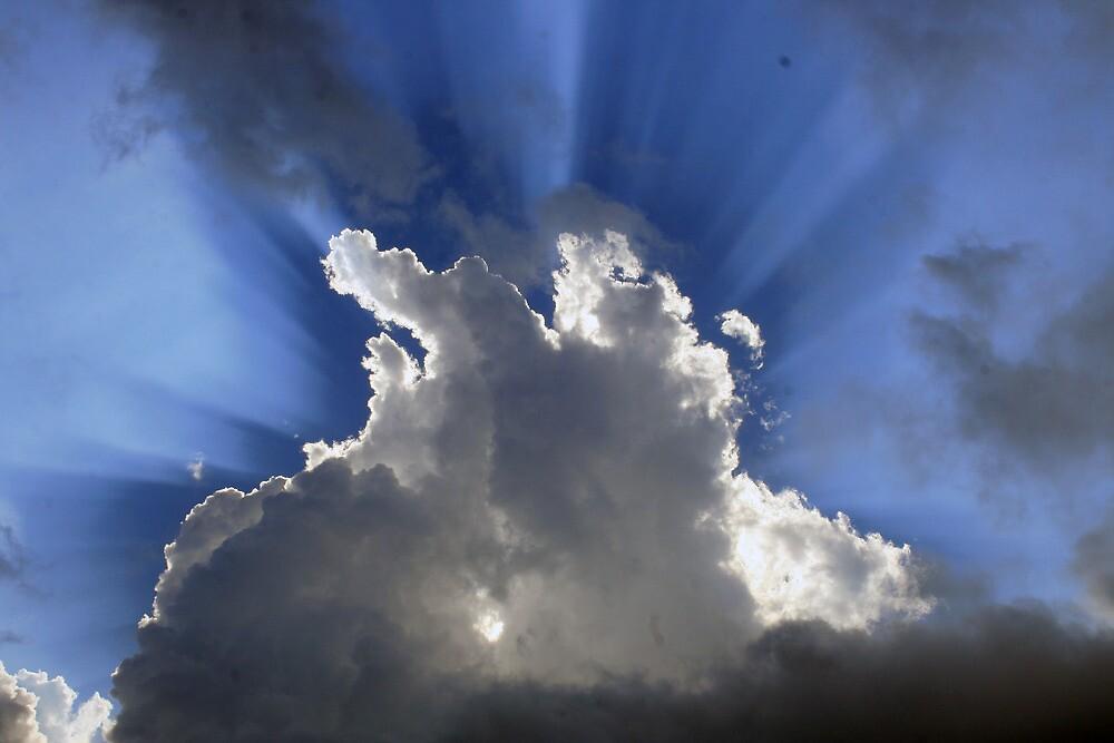 Sunburst Through Clouds by rhamm