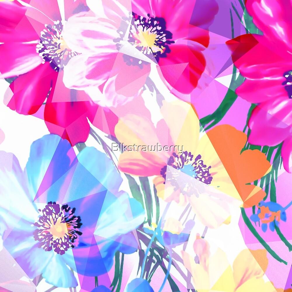 Girly Geometric Triangle Flowers Pattern by Blkstrawberry