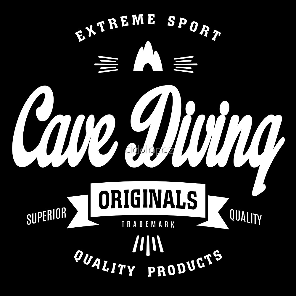 Cave Diving Extreme Sport White Design Art by cidolopez