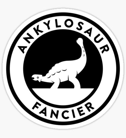Ankylosaur Fancier Tee (Black on Light) Sticker