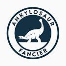 Ankylosaur Fancier Tee (Blue on White) by David Orr