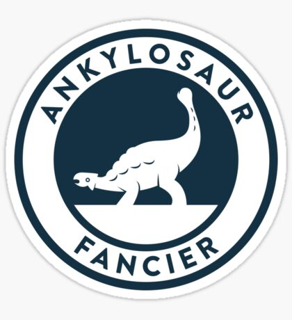 Ankylosaur Fancier Tee (Blue on White) Sticker