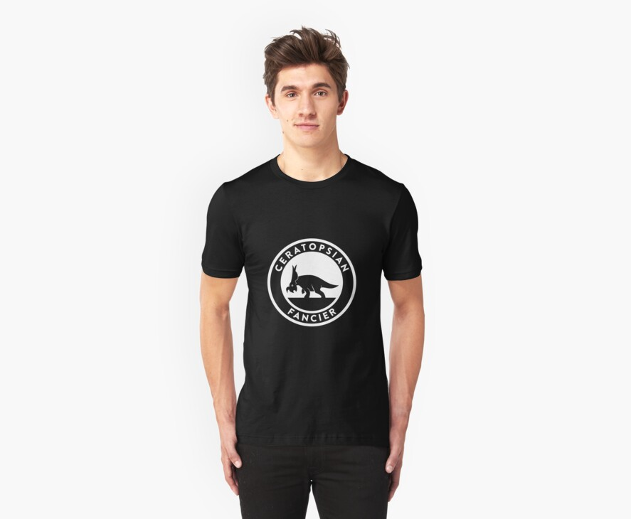 Ceratopsian Fancier Tee (White on Dark) by David Orr