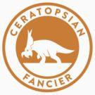 Ceratopsian Fancier Tee (Mustard on White) by David Orr