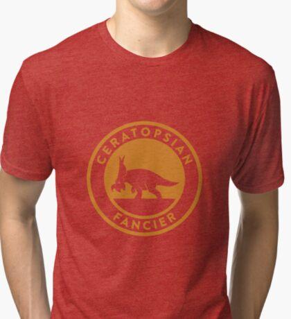 Ceratopsian Fancier Tee (Mustard on White) Tri-blend T-Shirt