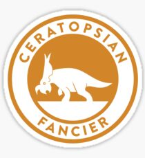 Ceratopsian Fancier Tee (Mustard on White) Sticker