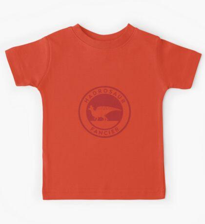 Hadrosaur Fancier (Red on White) Kids Clothes