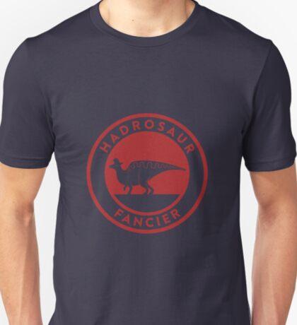 Hadrosaur Fancier (Red on White) T-Shirt