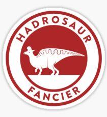 Hadrosaur Fancier (Red on White) Sticker