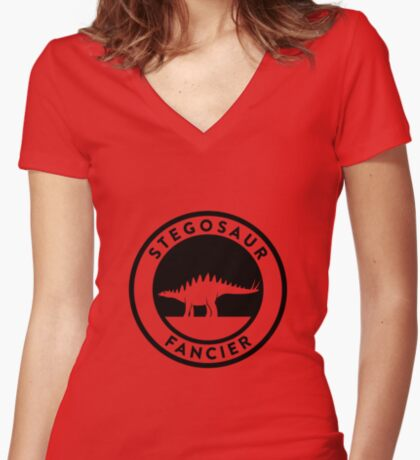 Stegosaur Fancier (Black on Light) Women's Fitted V-Neck T-Shirt