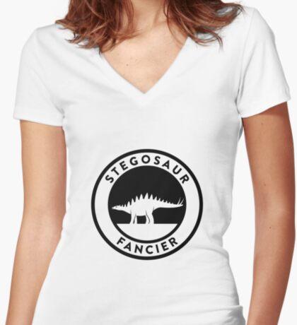Stegosaur Fancier (Black on Light) Women's Fitted V-Neck T-Shirt