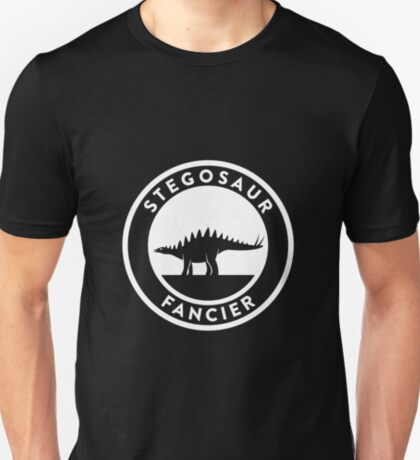 Stegosaur Fancier (White on Dark) T-Shirt