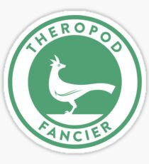 Theropod Fancier (Teal on White) Sticker