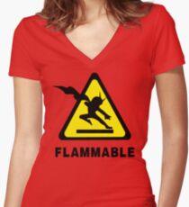 Flammable Joe Women's Fitted V-Neck T-Shirt
