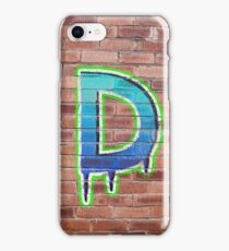 Graffiti Printed Letter D on wall iPhone Case/Skin