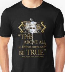 """Shakespeare Hamlet """"own self be true"""" Quote T-Shirt"""