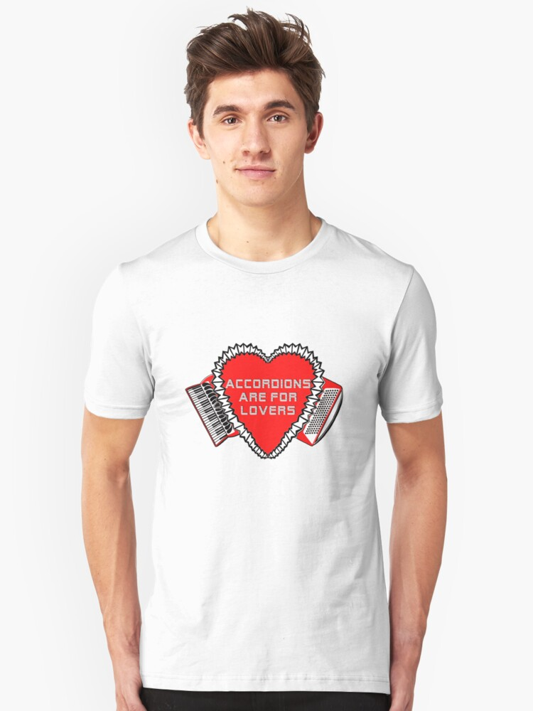 Accordions Are For Lovers 3 in bright red! Unisex T-Shirt Front