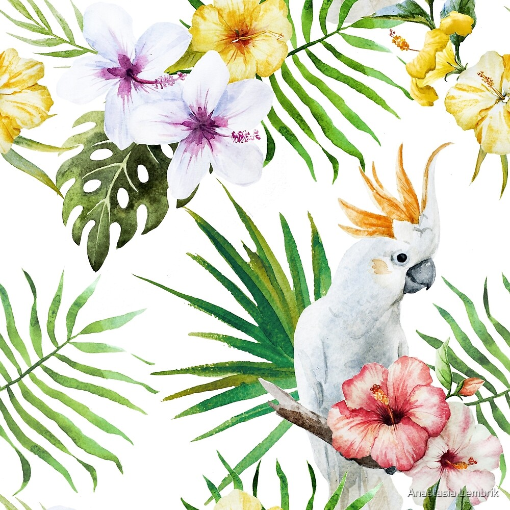 tropical pattern with white parrots and hibiscus flower by Anastasia Lembrik