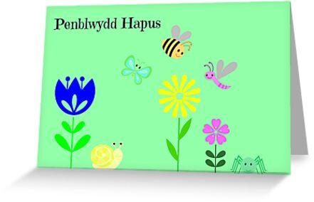 Cerdyn Penblwydd Gymraeg i blant ifanc by Paula J James