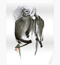 Morihei Ueshiba Sensei Aikido martial arts art japan japanese master sum-e portrait founder Poster