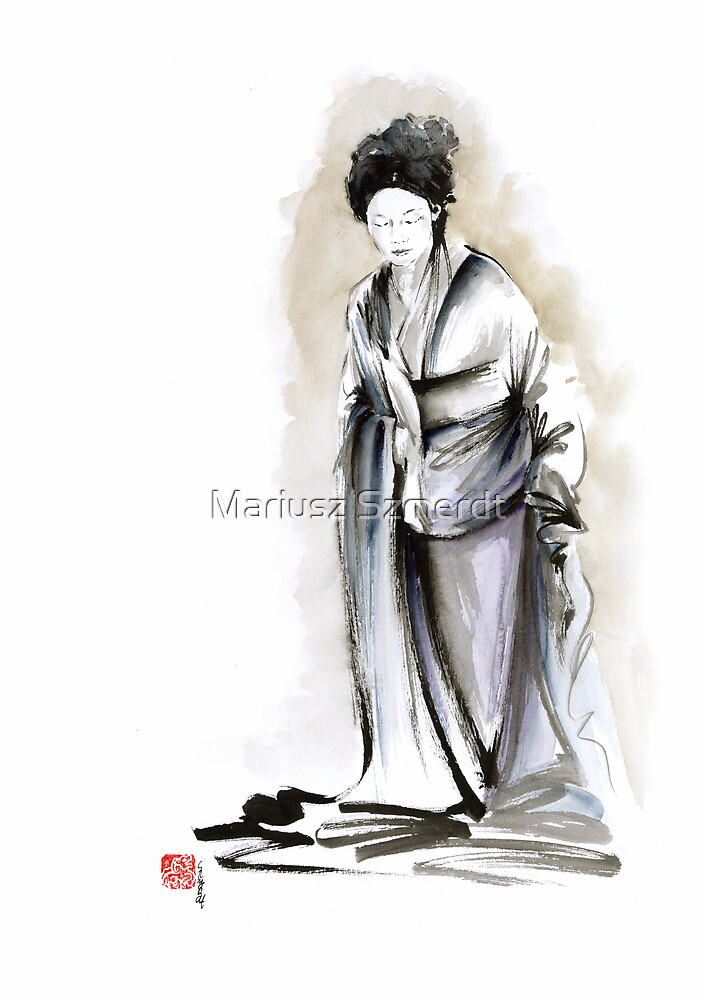 Geisha classical figure woman kimono wearing old style painting by Mariusz Szmerdt
