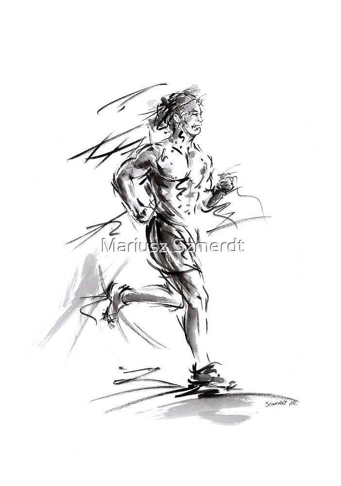 Run lovers running man painting sport athletic olimpic by Mariusz Szmerdt