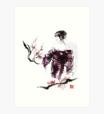 Geisha Geiko maiko young girl Kimono Japanese japan woman sumi-e original painting cherry blossom sakura pink water Art Print