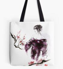 Geisha Geiko maiko young girl Kimono Japanese japan woman sumi-e original painting cherry blossom sakura pink water Tote Bag