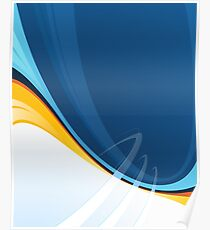 Techno Blue Abstract Pop Graphic Poster