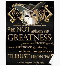 Shakespeare Twelfth Night Greatness Quote Poster