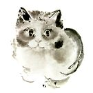 Cat Cats Kitten Funny Meow animal pet ink painting by Mariusz Szmerdt