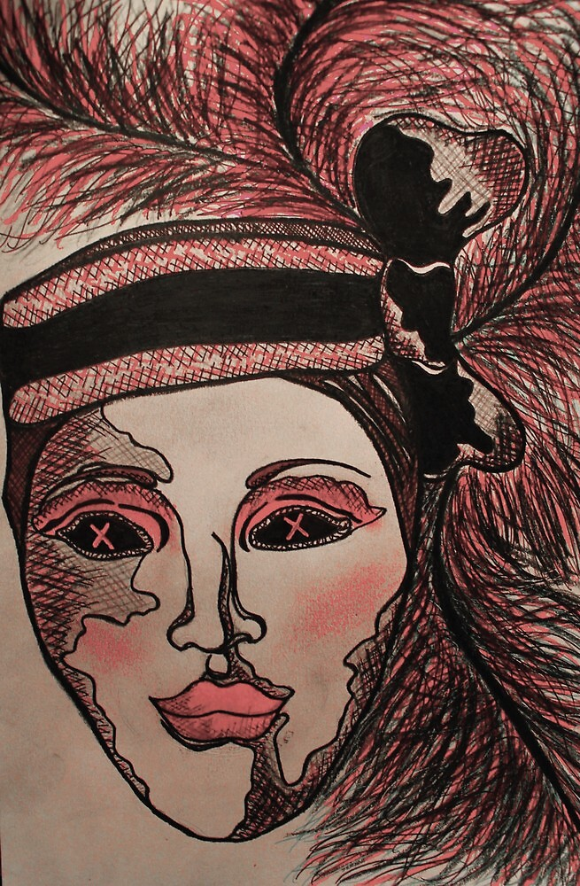 Masquerade Woman Pink by Amber Batten